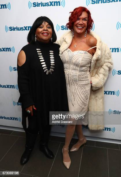 Singer Sarah Dash and Carmen D'Alessio pose for photos during a SiriusXM Town Hall taping on Studio 54 Radio celebrating the 40th anniversary of...