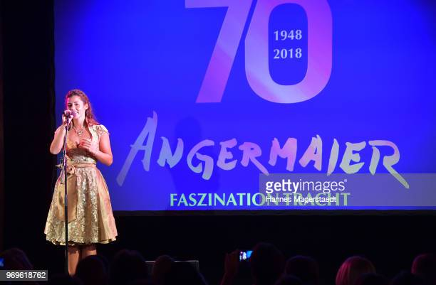 Singer Sarah Lombardi performs during the 70th anniversary celebration of the clothing company Angermaier at Deutsches Theatre on June 7 2018 in...