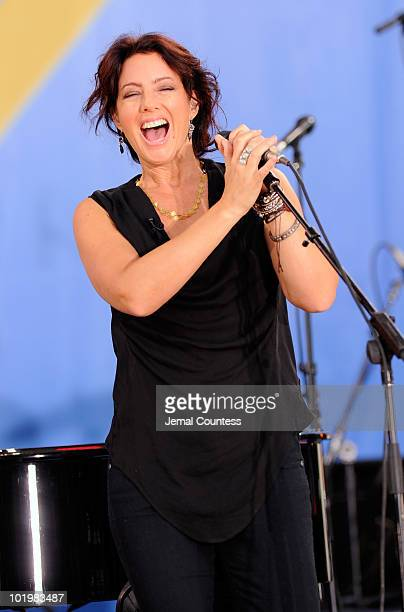 """Singer Sarah McLachlan performs on ABC's """"Good Morning America"""" at Rumsey Playfield, Central Park on June 11, 2010 in New York City."""