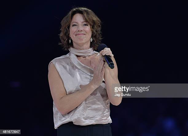 Singer Sarah Mclachlan performs on stage at the 2014 Juno Awards held at the MTS Centre on March 30 2014 in Winnipeg Canada