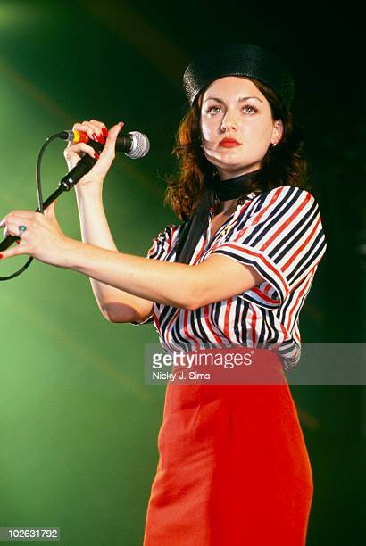 Singer Sarah Nixey of Black Box Recorder performs on stage in 2000