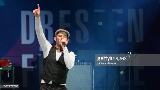 Singer Sascha Pierro from the pop band Marquess from Hanover on stage at a concert for cosmopolitanism and tolerance at the Neumarkt in...