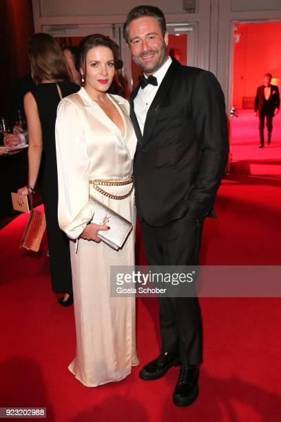 Singer Sasha and his wife Julia Roentgen during the Goldene Kamera reception on February 22 2018 at the Messe Hamburg in Hamburg Germany