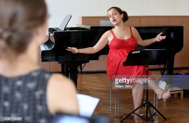 Singer Sasha Lurje leads a singing workshop during Yiddish Summer Weimar on July 27, 2018 in Weimar, Germany. The annual five-week summer institute...