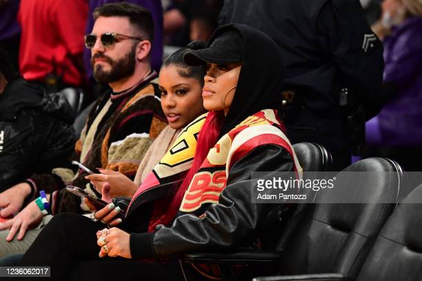 Singer Saweetie takes in the game of the Phoenix Suns against the Los Angeles Lakers on October 22, 2021 at STAPLES Center in Los Angeles,...