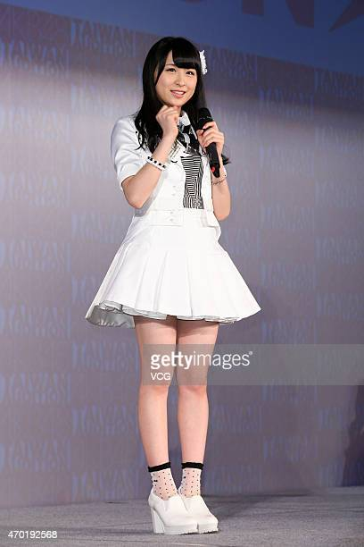 Singer Saya Kawamoto of Japanese girl group AKB48 performs on the stage during a Japan tourism exhibition on April 17, 2015 in Taipei, Taiwan of...