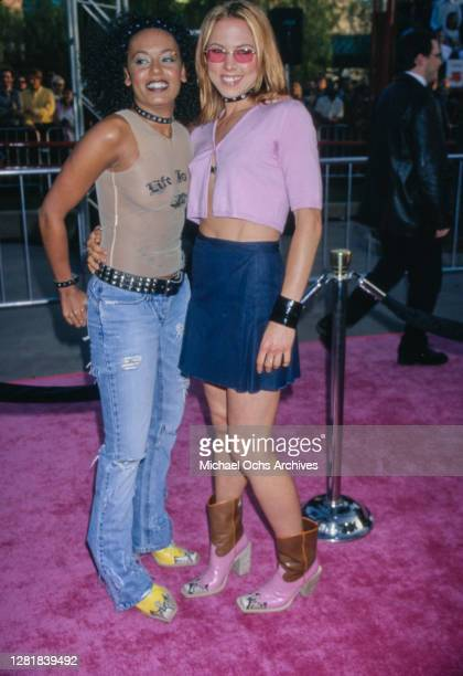 """Singer """"Scary Spice"""" Melanie Brown and singer """"Sporty Spice"""" Melanie Chisholm of the Spice Girls attend the """"Austin Powers: The Spy Who Shagged Me""""..."""