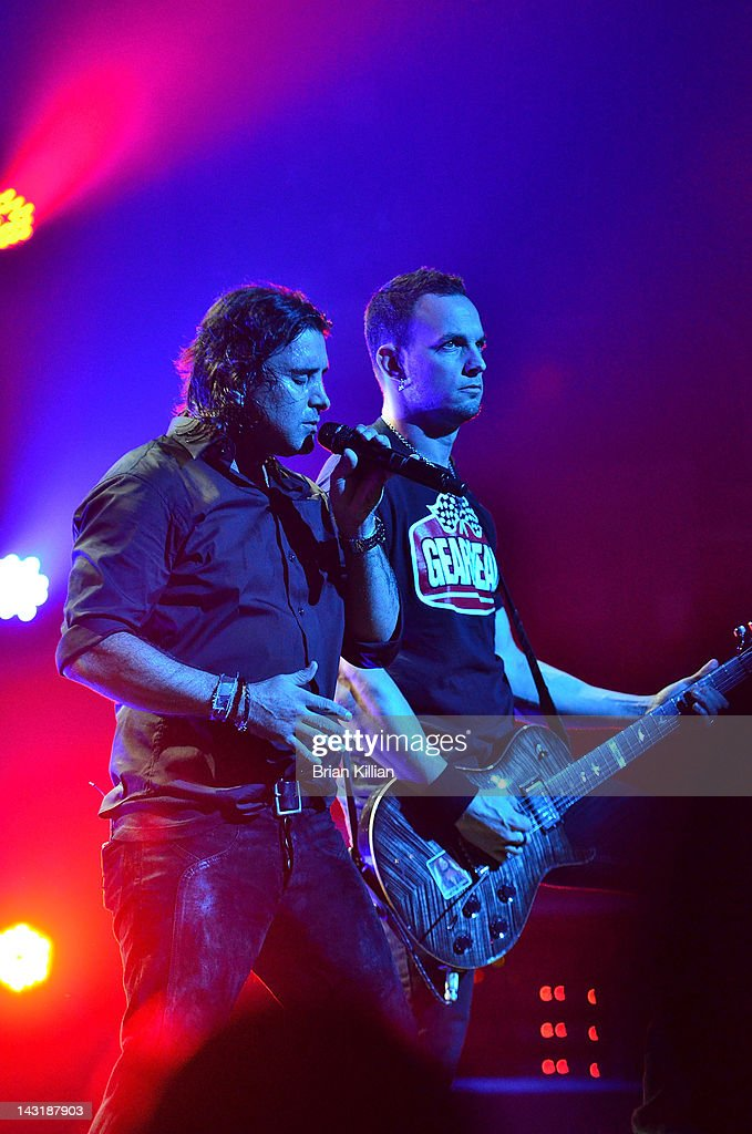 Singer Scott Stapp and guitarist Mark Tremonti of the band Creed perform at the Beacon Theatre on April 20, 2012 in New York City.