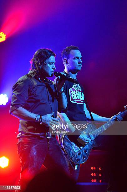 Singer Scott Stapp and guitarist Mark Tremonti of the band Creed perform at the Beacon Theatre on April 20 2012 in New York City