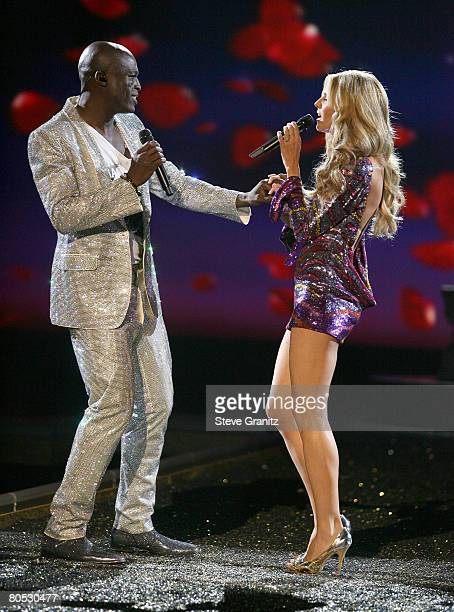 Singer Seal and Model Heidi Klum at the 12th Annual Victorias Secret Fashion Show at The Kodak Theatre on November 15 2007 in Hollywood California