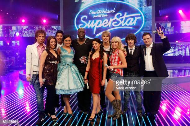 Singer Seal and the German superstar candidates look on during a photo call after the rehearsel for the singer qualifying contest DSDS 'Deutschland...