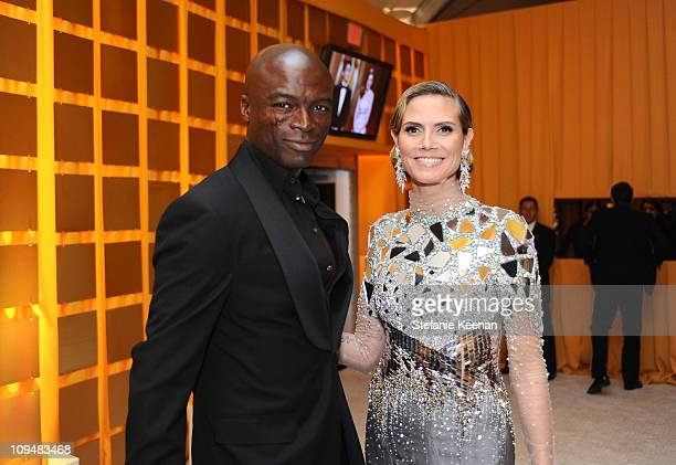Singer Seal and TV personality Heidi Klum attend the 19th Annual Elton John AIDS Foundation Academy Awards Viewing Party at the Pacific Design Center...
