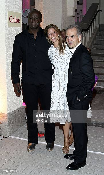 Singer Seal Helen Willerton Managing Director Asia Pacific of Chloe' and Ralph Toledano Chairman and CEO of Chloe' pose at the party to celebrate two...