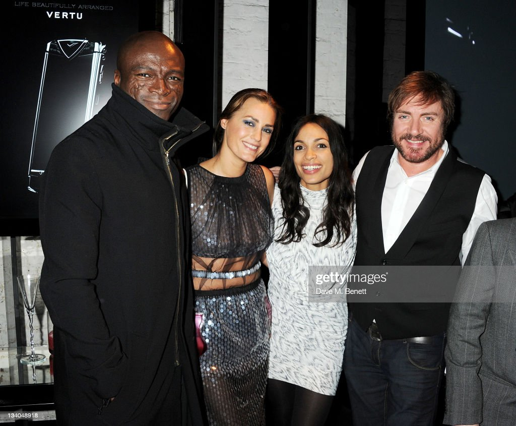 Singer Seal, model Yasmin Le Bon, actress Rosario Dawson and musician Simon Le Bon attend the launch of the Vertu Constellation, the luxury mobile phone maker's first touchscreen handset, at the Farmiloe Building on November 24, 2011 in London, England.