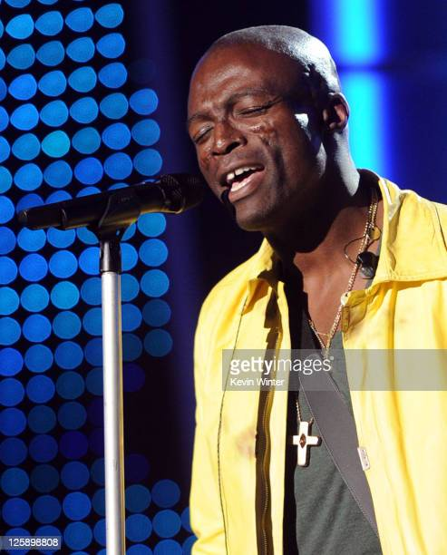 Singer Seal performs onstage during 2011 MusiCares Person Of The Year Tribute To Barbra Streisand rehearsals at Los Angeles Convention Center on...