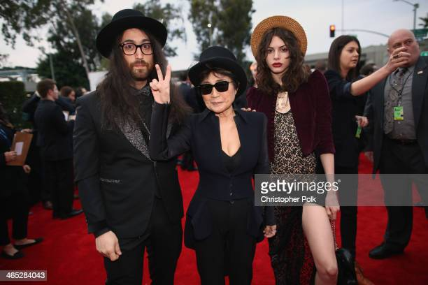 Singer Sean Lennon, musician Yoko Ono and model Charlotte Kemp Muhl attend the 56th GRAMMY Awards at Staples Center on January 26, 2014 in Los...