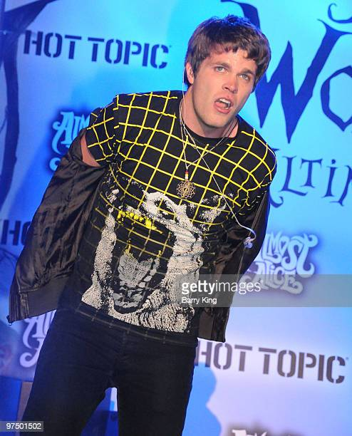 Singer Sean Matthew Foreman of 3OH3 performs at the 'Alice In Wonderland' Great Big Ultimate Fan Event at Hollywood Highland Courtyard on February 19...