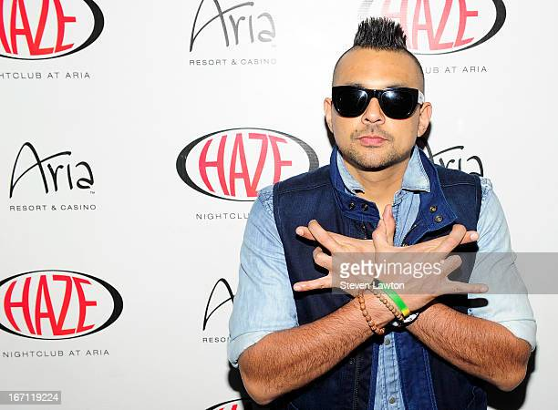 Singer Sean Paul arrives at Haze Nightclub at the Aria Resort Casino at CityCenter on April 20 2013 in Las Vegas Nevada