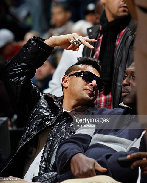 Singer Sean Paul watches the New Jersey Nets play against the Detroit Pistons during a game on March 26 2010 at Izod Center in East Rutherford New...