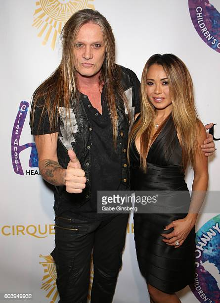 Singer Sebastian Bach and his wife model Suzanne Le Bach attend Criss Angel's HELP charity event at the Luxor Hotel and Casino benefiting pediatric...