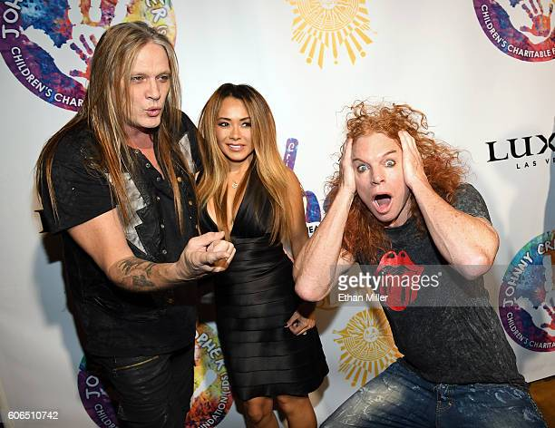 Singer Sebastian Bach of Skid Row his wife model Suzanne Le Bach and comedian Carrot Top joke around as they attend Criss Angel's HELP charity event...