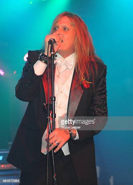 Singer Sebastian Bach on stage at his wedding to Suzanne Le at Rockbar Theater on August 22 2015 in San Jose California