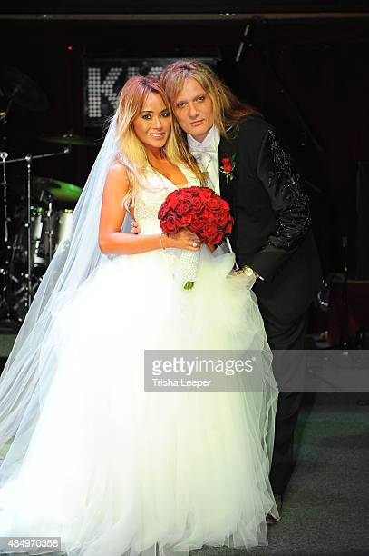 Singer Sebastian Bach weds Suzanne Le at Rockbar Theater on August 22 2015 in San Jose California