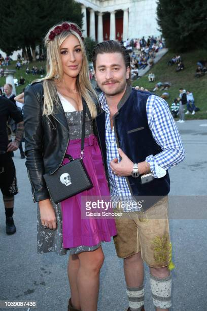 Singer Sebastian Buergin 'Baschi' and his girlfriend Alana Netzer daughter of Guenter and Elvira Netzer during the Oktoberfest 2018 at Theresienwiese...