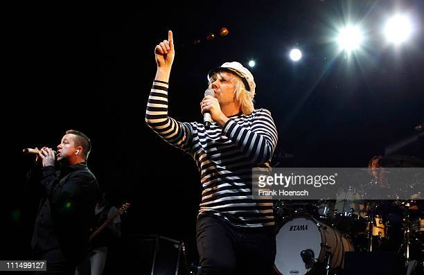 Singer Sebastian Krumbiegel and Tobias Kuenzel of the german band Die Prinzen performs live during a concert at the Tempodrom on April 3 2011 in...