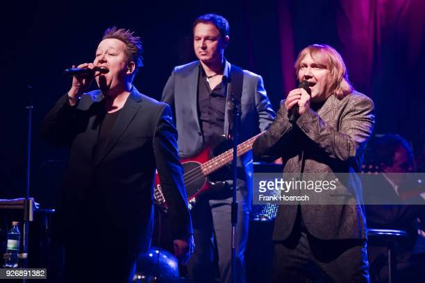 Singer Sebastian Krumbiegel and Tobias Kuenzel of the German band Die Prinzen perform live on stage during a concert at the Admiralspalast on March 3...