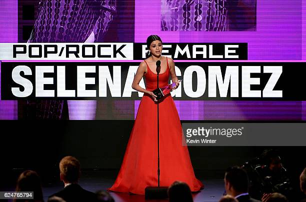 Singer Selena Gomez accepts Favorite Pop/Rock Female Artist onstage during the 2016 American Music Awards at Microsoft Theater on November 20 2016 in...