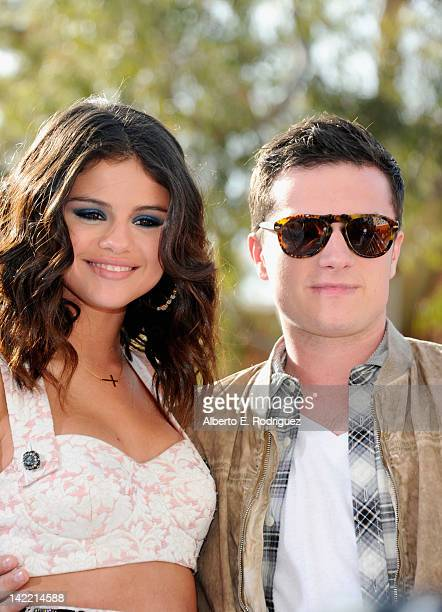 Singer Selena Gomez and actor Josh Hutcherson arrive at Nickelodeon's 25th Annual Kids' Choice Awards held at Galen Center on March 31 2012 in Los...