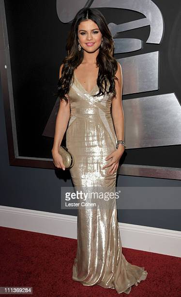 Singer Selena Gomez arrives at The 53rd Annual GRAMMY Awards held at Staples Center on February 13 2011 in Los Angeles California
