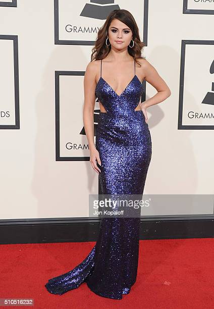Singer Selena Gomez arrives at The 58th GRAMMY Awards at Staples Center on February 15 2016 in Los Angeles California