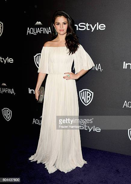 Singer Selena Gomez attends InStyle and Warner Bros 73rd Annual Golden Globe Awards PostParty at The Beverly Hilton Hotel on January 10 2016 in...