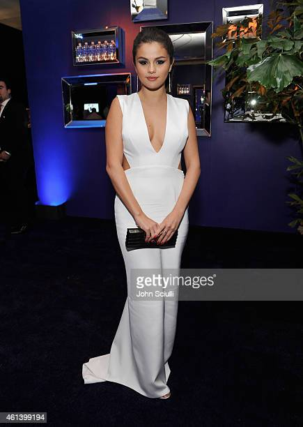 Singer Selena Gomez attends the 2015 InStyle And Warner Bros 72nd Annual Golden Globe Awards PostParty at The Beverly Hilton Hotel on January 11 2015...