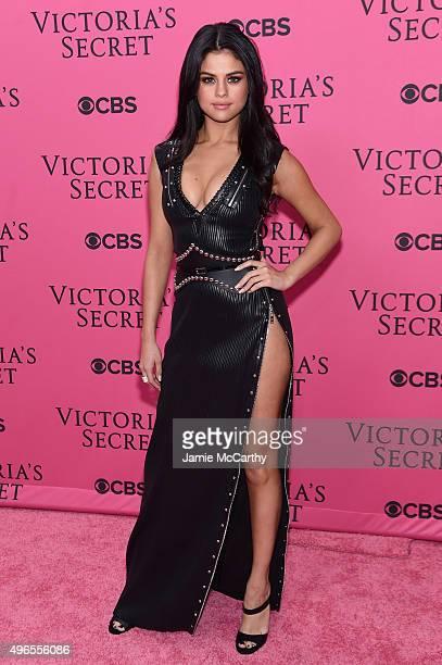Singer Selena Gomez attends the 2015 Victoria's Secret Fashion Show at Lexington Avenue Armory on November 10 2015 in New York City