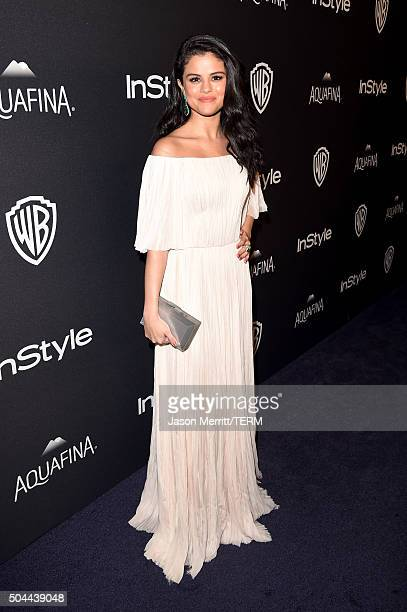 Singer Selena Gomez attends The 2016 InStyle And Warner Bros 73rd Annual Golden Globe Awards PostParty at The Beverly Hilton Hotel on January 10 2016...