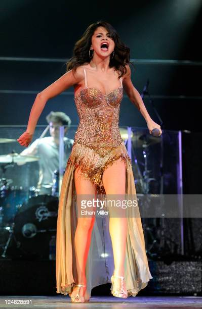 Singer Selena Gomez performs at the Mandalay Bay Events Center September 10 2011 in Las Vegas Nevada