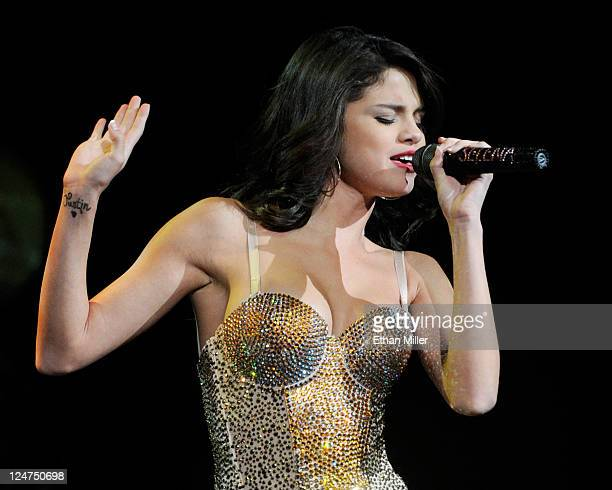 Singer Selena Gomez performs at the Mandalay Bay Events Center September 10 2011 in Las Vegas Nevada