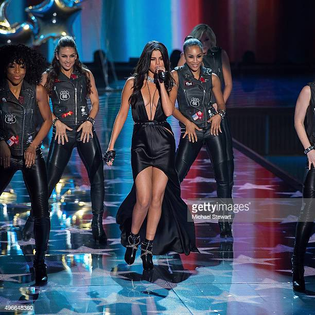 Singer Selena Gomez performs during the 2015 Victoria's Secret Fashion Show at Lexington Armory on November 10 2015 in New York City