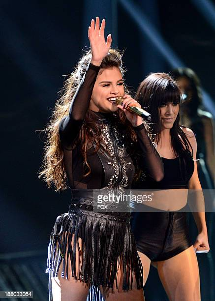 "Singer Selena Gomez performs on FOX's ""The X Factor"" Season 3 Top 12 To 10 Live Elimination Show on November 14, 2013 in Hollywood, California."