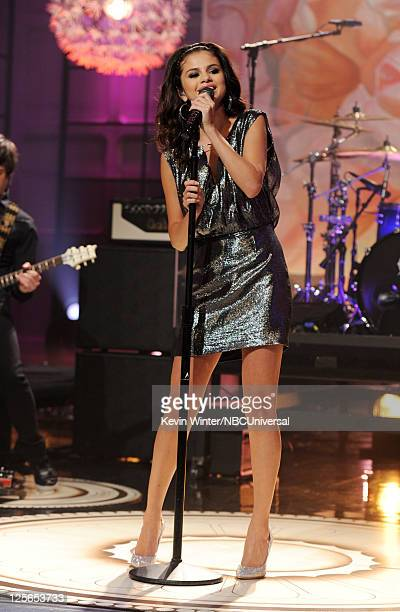 Singer Selena Gomez performs on the Tonight Show With Jay Leno at NBC Studios on September 19 2011 in Burbank California