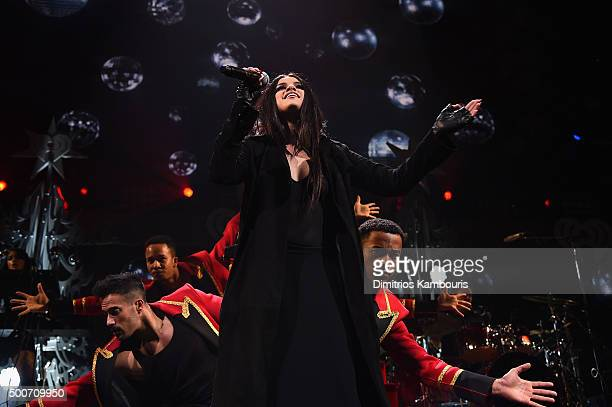 Singer Selena Gomez performs onstage during Q102's Jingle Ball 2015 presented by Capital One at Wells Fargo Center on December 9 2015 in Philadelphia...