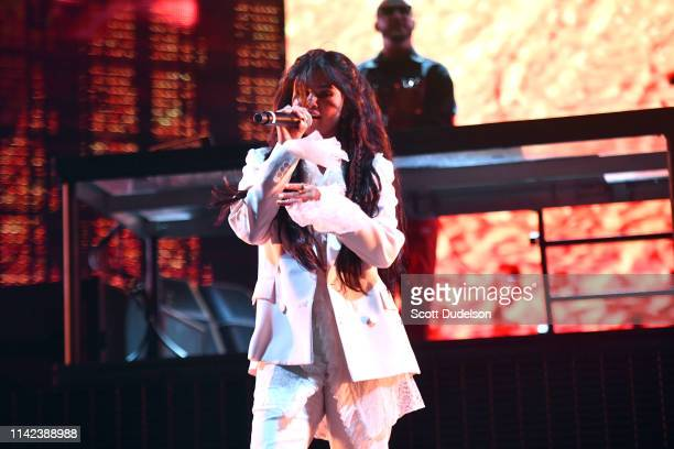 Singer Selena Gomez performs onstage on the Outdoor Stage during Weekend 1 Day 1 of the 2019 Coachella Valley Music and Arts Festival on April 12...