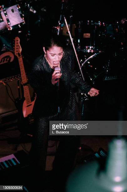Singer Selena performs at the opening of the Hard Rock Cafe on January 12th, 1995 in San Antonio, Texas.