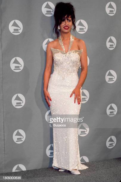 Singer Selena receives Grammy Award at The 36th Annual Grammy Awards on March 1, 1994 in New York, New York at Radio City Music Hall.