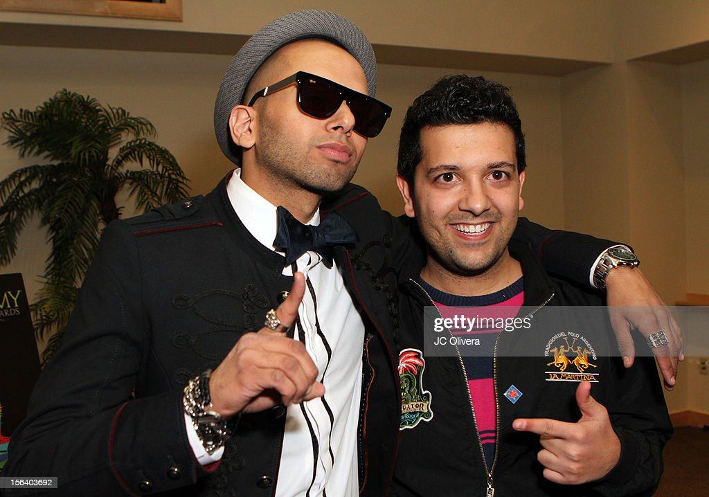 Singer Sensato (L) and DJ Sak Noel attend the 13th annual Latin GRAMMY Awards Univision Radio Remotes held at the Mandalay Bay Events Center on November 14, 2012 in Las Vegas, Nevada.