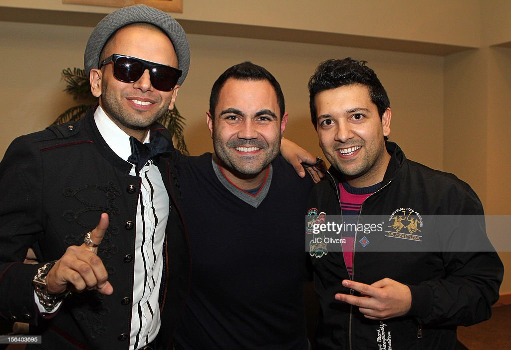 Singer Sensato, radio personality Enrique Santos and DJ Sak Noel attend the 13th annual Latin GRAMMY Awards Univision Radio Remotes held at the Mandalay Bay Events Center on November 14, 2012 in Las Vegas, Nevada.