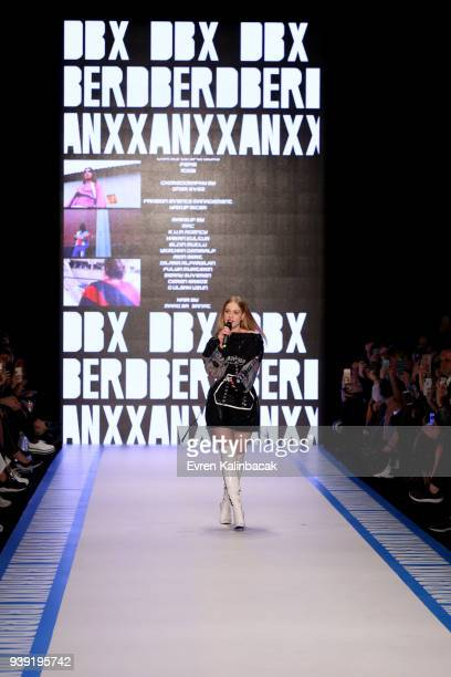 Singer Serel Yereli on the runway for the DB Berdan show during Mercedes Benz Fashion Week Istanbul at Zorlu Center on March 28 2018 in Istanbul...